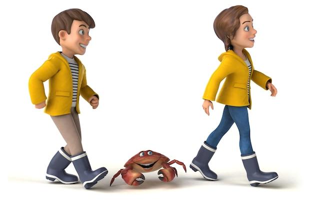 Zabawa ilustracja kreskówek dla dzieci z kraba