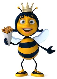 Zabawa ilustrowana pszczoła trzyma frytki
