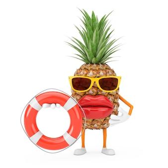 Zabawa kreskówka moda hipster cut ananas osoba charakter maskotka z boja ratunkowa na białym tle. renderowanie 3d
