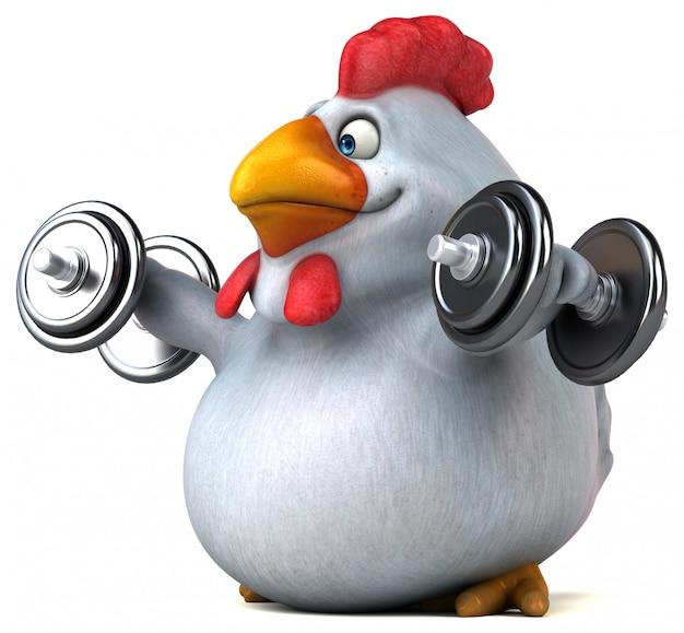 Zabawa kurczaka charakter odizolowywający - 3d ilustracja
