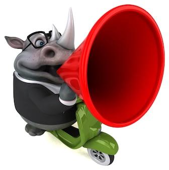 Zabawa nosorożca - ilustracja 3d na białym tle