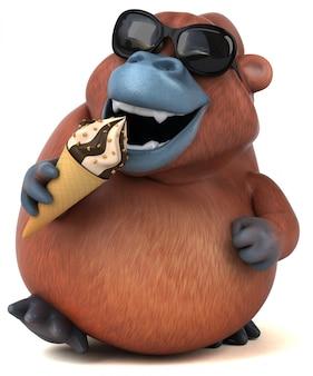 Zabawa orangutan - 3d ilustracji
