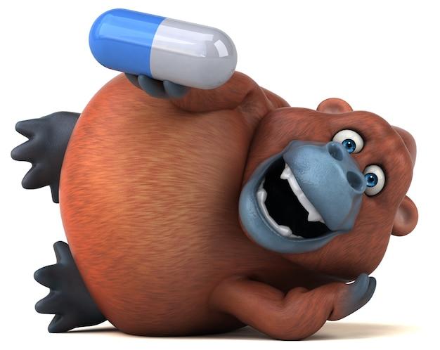 Zabawa orangutan - ilustracja 3d