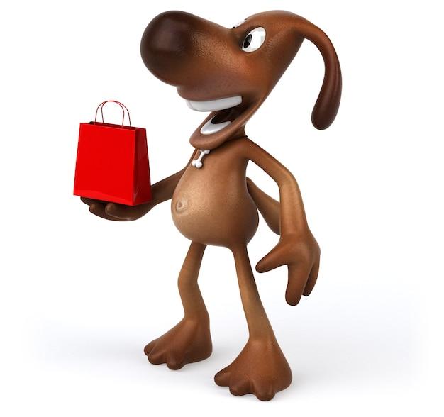 Zabawa pies trzyma czerwoną torbę na zakupy