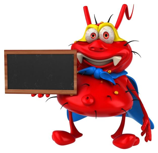 Zabawa potwór zarodkowy 3d trzyma tablicę