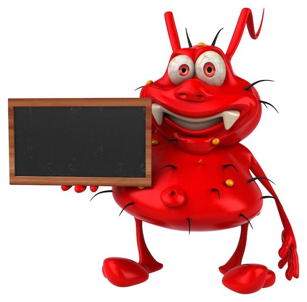 Zabawa potwór zarodkowy trzyma tablicę