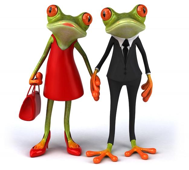 Zabawa żab 3d ilustracja
