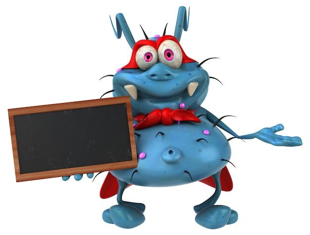 Zabawa zarodkowego potwora trzymającego tablicę