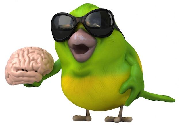 Zabawa zielony ptak - 3d ilustracja