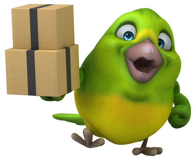 Zabawa zielony ptak - ilustracja 3d