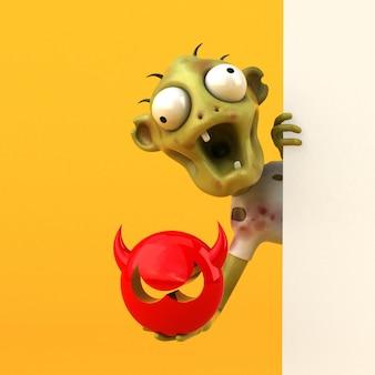 Zabawa zombie charakter na białym tle - ilustracja 3d