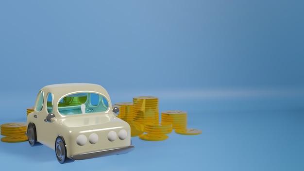 Zabawka samochód i złote monety na niebieskim tle renderowania 3d