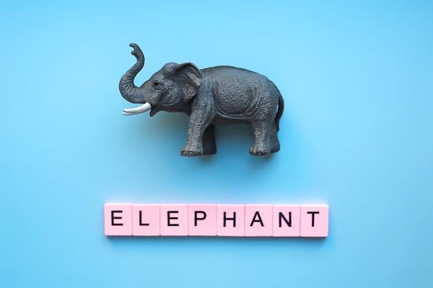 Zabawka słoń na niebieskim tle ze słowem słoń