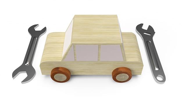 Zabawka z drewna do serwisu samochodowego