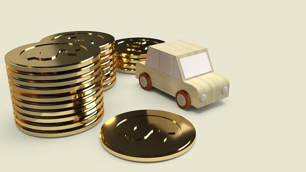 Zabawka z drewna samochodowego i złote monety do samochodu