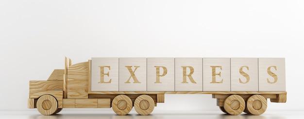 Zabawkowa ciężarówka przewozi duże drewniane kostki reklamujące oferowaną usługę