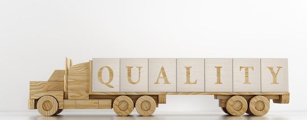 Zabawkowa ciężarówka przewozi duże drewniane kostki w celu zareklamowania oferowanej usługi