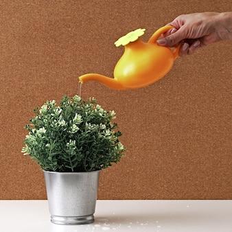 Zabawkowa konewka w dłoni nad metalową doniczką z zieloną roślinką