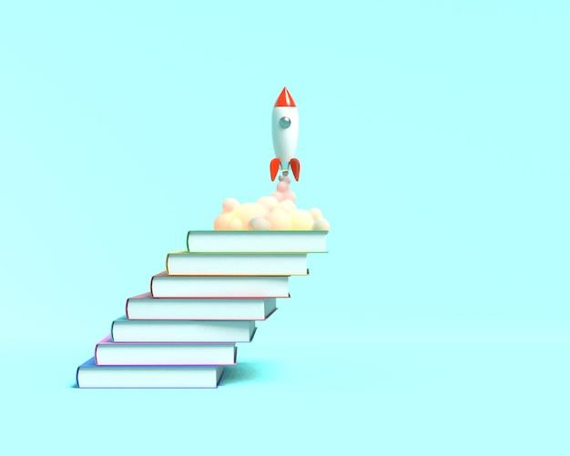 Zabawkowa rakieta startuje z książek, plując dymem na niebiesko