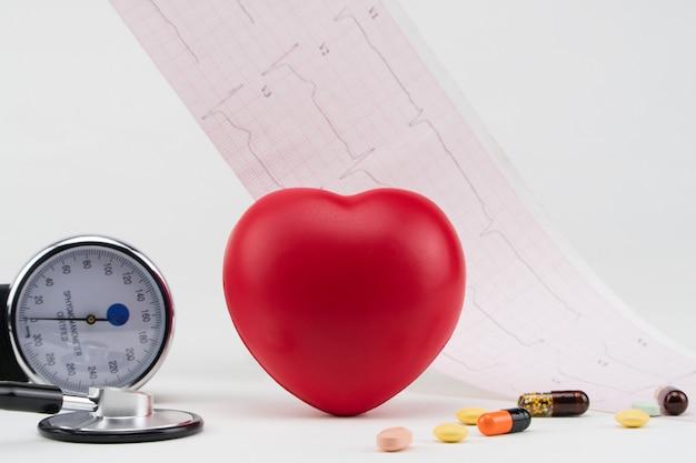 Zabawkowe serce i tonometr na tle kardiogramu kardiologia pielęgnacja serca