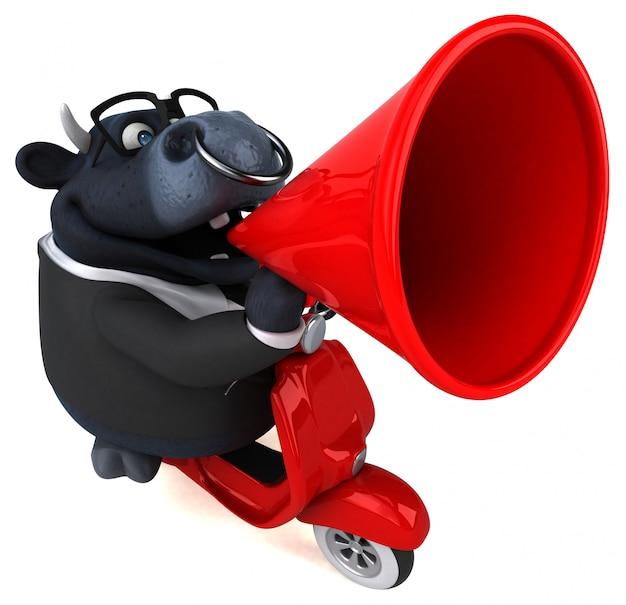 Zabawna animacja czarnego byka