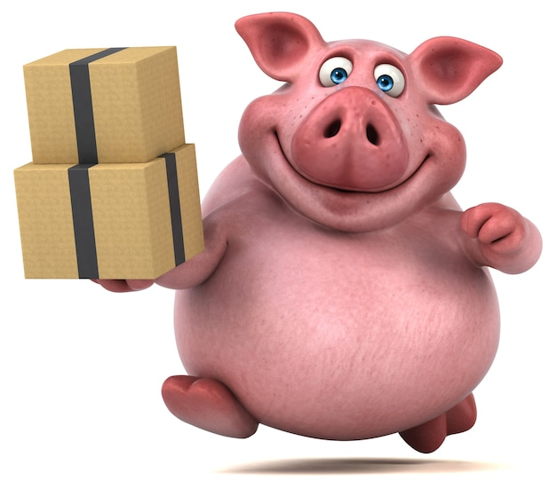 Zabawna animacja świni