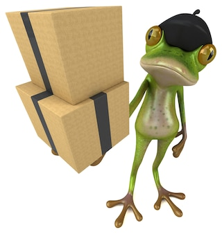 Zabawna francuska żaba - ilustracja 3d