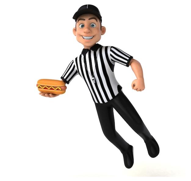 Zabawna ilustracja 3d amerykańskiego sędziego
