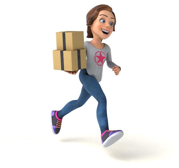 Zabawna Ilustracja 3d Nastoletniej Dziewczyny Z Kreskówek Premium Zdjęcia