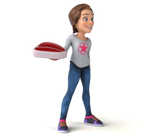 Zabawna ilustracja 3d nastoletniej dziewczyny z kreskówek