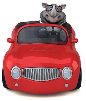 Zabawna ilustracja 3d nosorożca