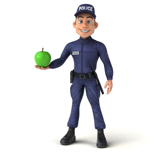 Zabawna ilustracja 3d policjanta kreskówek