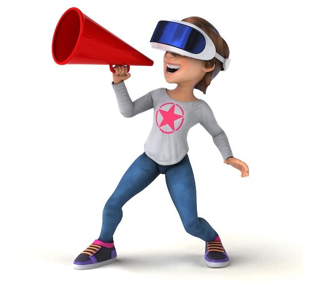 Zabawna ilustracja 3d przedstawiająca nastolatkę z kaskiem vr