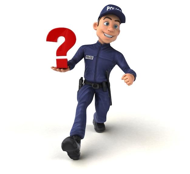 Zabawna ilustracja 3d z kreskówki policjanta