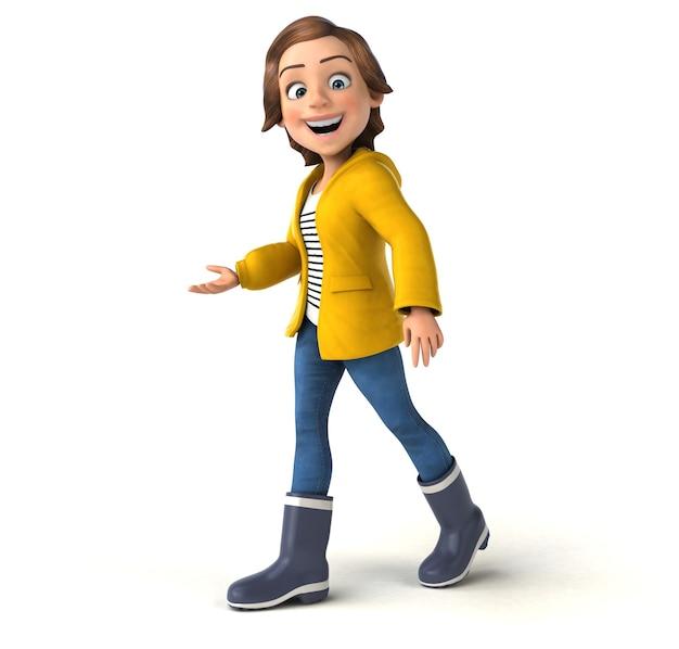 Zabawna ilustracja 3d z kreskówkową nastolatką ze sprzętem przeciwdeszczowym