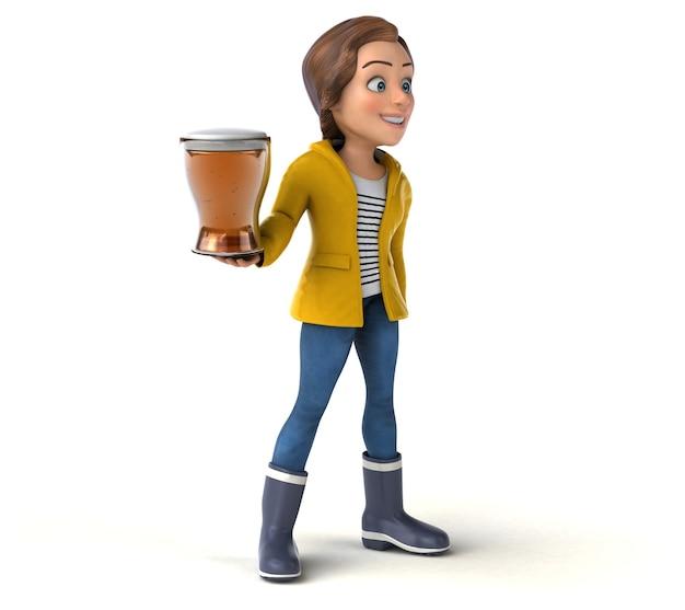 Zabawna ilustracja 3d z kreskówkową nastolatką