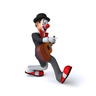 Zabawna ilustracja 3d zabawnego klauna
