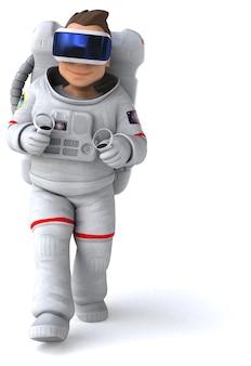 Zabawna ilustracja astronauty z hełmem vr