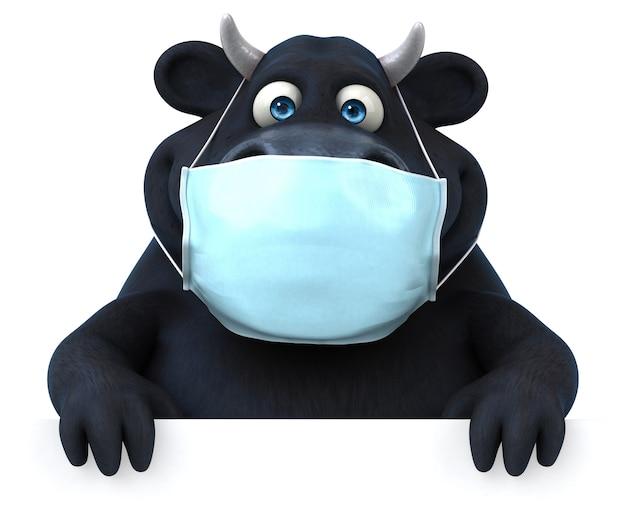 Zabawna ilustracja byka z maską