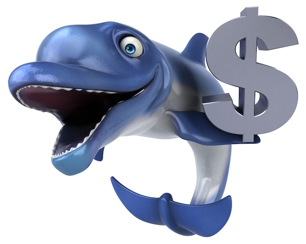 Zabawna ilustracja delfinów 3d