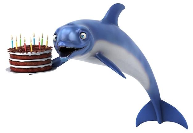 Zabawna ilustracja delfinów