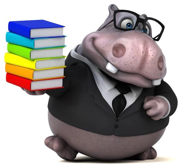 Zabawna ilustracja hipopotama