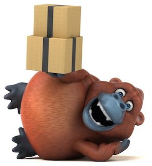 Zabawna ilustracja orangutana