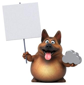 Zabawna ilustracja owczarek niemiecki