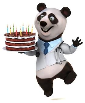 Zabawna ilustracja panda