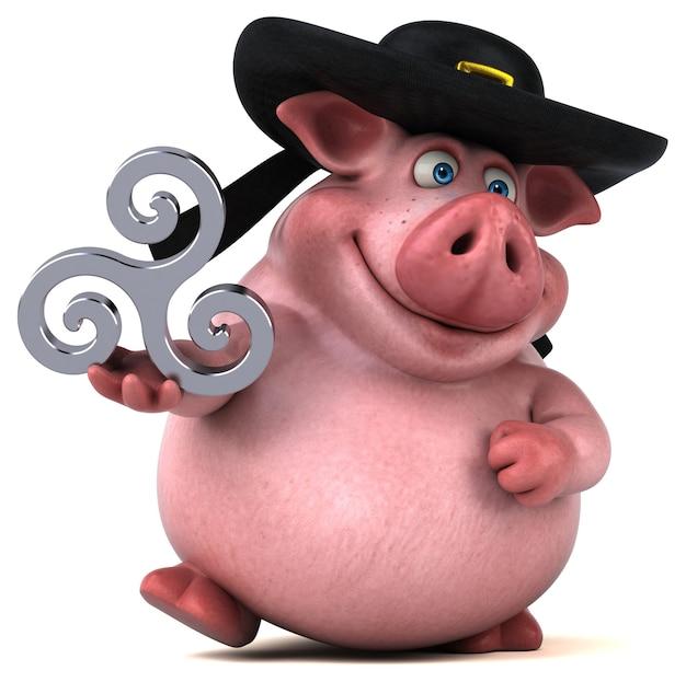 Zabawna ilustracja świnia