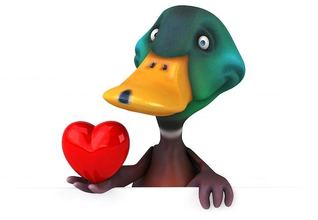 Zabawna ilustrowana kaczka trzymająca ilustrowane serce