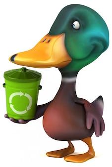 Zabawna ilustrowana kaczka trzymająca kosz