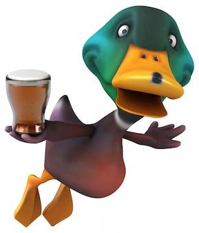 Zabawna ilustrowana kaczka trzymająca kufel piwa