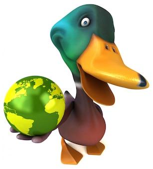 Zabawna ilustrowana kaczka trzymająca kulę ziemską